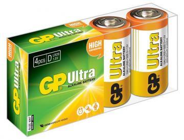 GP Ultra Alkaline D Batteries 4 Pack