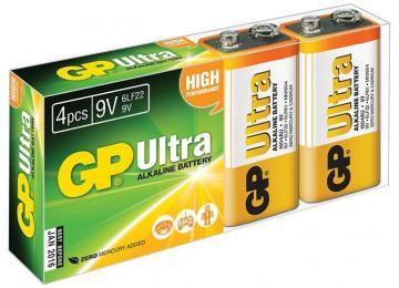 GP Ultra Alkaline 9V Batteries 4 Pack