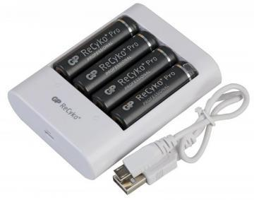 GP PowerBank USB Battery Charger U411 with 4x AA ReCyko+ Pro Ni-MH Batteries