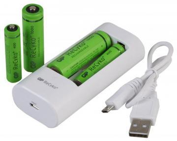 GP PowerBank USB Battery Charger U211 with 2x AA & 2x AAA ReCyko+ Batteries