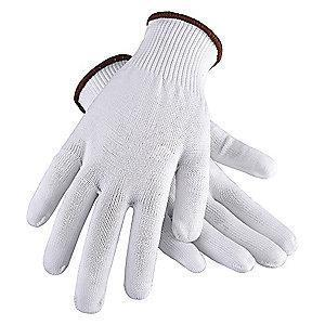 Condor White Reversible Knit Gloves, Polyester, Size S, 13 Gauge