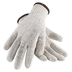 Condor Natural Reversible Knit Gloves, Polyester/Cotton, Size XL, 7 Gauge