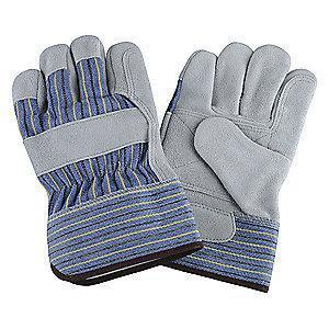 Condor Cowhide Leather Palm Gloves with Safety Cuff, Blue/Green/Gray, XL