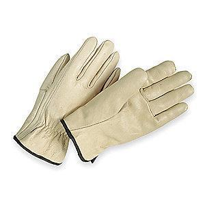 Condor Cowhide Leather Driver's Gloves with Shirred Cuff, Cream, S