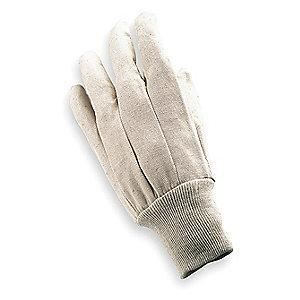 Condor Cotton/Polyester Canvas Gloves, Knit Cuff, 8 oz, Natural, L, PR 1