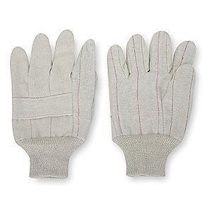 Condor Cotton/Polyester Canvas Gloves, Knit Cuff, 20 oz, Natural, L, PR 1