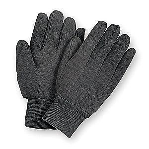 Condor Cotton Jersey Gloves, Knit Cuff, 8 oz, Brown, L, PR 1