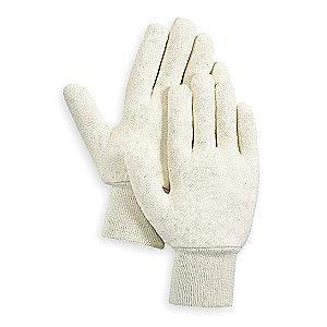 Condor Cotton Jersey Gloves, Knit Cuff, 7 oz, White, S, PR 1