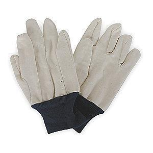 Condor Cotton Jersey Gloves, Knit Cuff, 12 oz, White/ Blue, L, PR 1