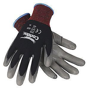 Condor 15 Gauge Smooth Polyurethane Coated Gloves, S, Gray/Black