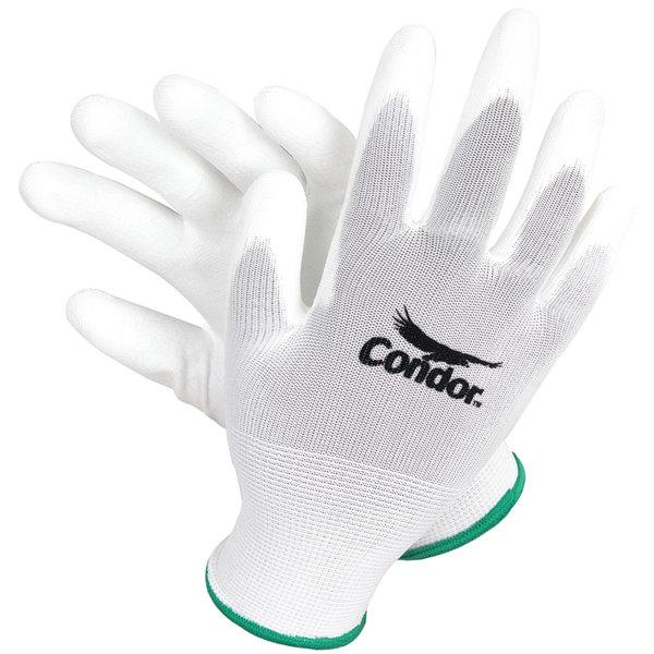 Condor 13 Gauge Smooth Polyurethane Coated Gloves, XL, White/White