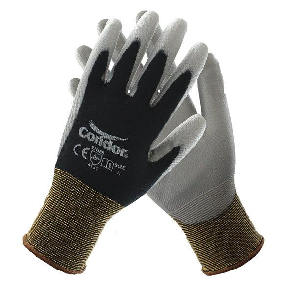 Condor 13 Gauge Smooth Polyurethane Coated Gloves, XL, Black/Gray