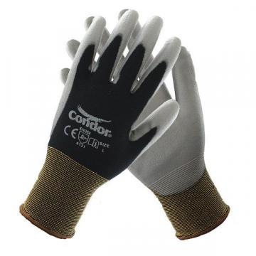 Condor 13 Gauge Smooth Polyurethane Coated Gloves, S, Black/Gray
