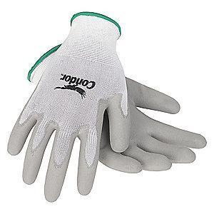 Condor 13 Gauge Smooth Polyurethane Coated Gloves, 2XL, White/Gray