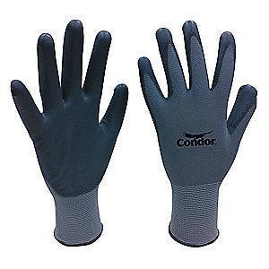 Condor 13 Gauge Flat Polyurethane Coated Gloves, XS, Gray