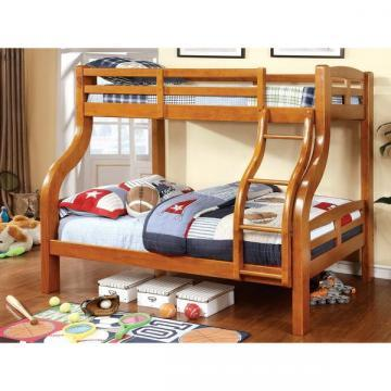 Furniture of America Utaria Curvy Twin over Full Bunk Bed