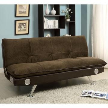 Furniture of America Thrain Modern 2-Tone Futon Sofa with Bluetooth Speakers