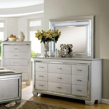 Furniture of America Tallone Crocodile Textured 9-drawer Dresser and Mirror Set
