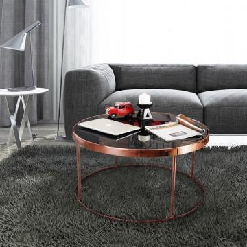 Furniture of America Rosina Rose Gold/ Black Mirrored Round Coffee Table