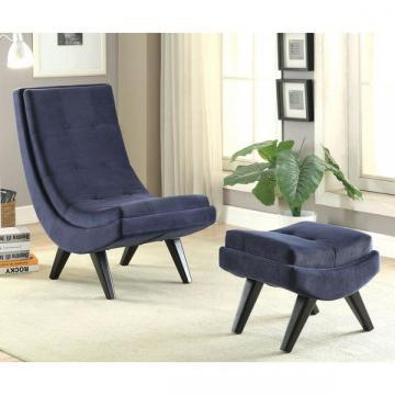 Furniture of America Novara Tufted Flannelette Curved Chair and Ottoman Set