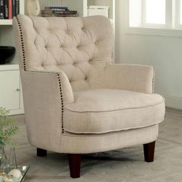 Furniture of America Maylorie Contemporary Ivory Wingback Accent Chair