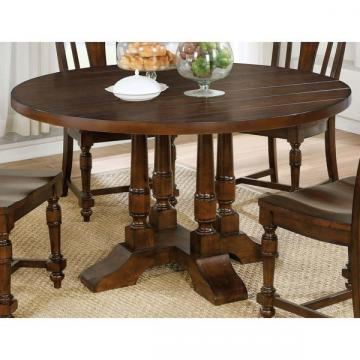 Furniture of America Lumin Rustic Country Style Brown Cherry Round Dining Table