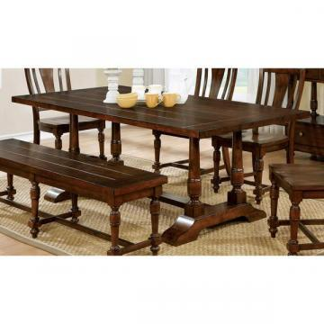 Furniture of America Lumin Rustic Country Style Brown Cherry Dining Table