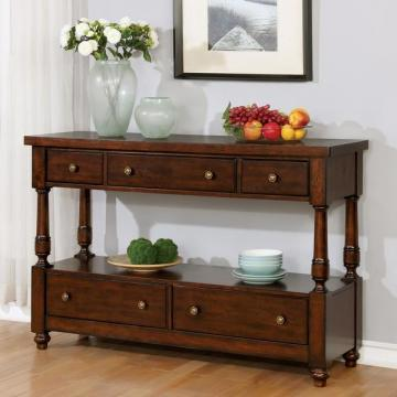 Furniture of America Lumin Rustic Country Style 5-drawer Brown Cherry Server