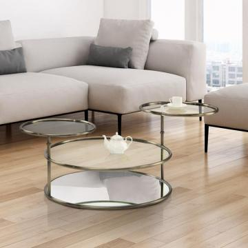 Furniture of America Korra Modern Round Swivel Glass/Champagne Coffee Table