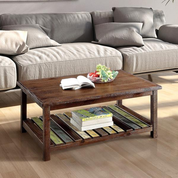 Furniture of America Katrine Country Style Slatted Brown Cherry Coffee Table