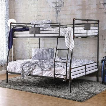 Furniture of America Herman Industrial Antique Black Full over Queen Bunk Bed