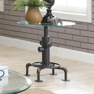 Furniture of America Haymill Industrial Glass Antique Black End Table