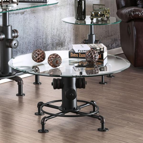 Furniture of America Haymill Industrial Glass Antique Black Coffee Table
