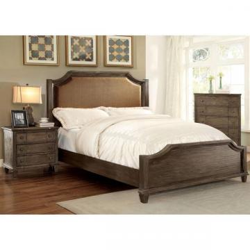 Furniture of America Gryphen Rustic Wire-brushed Grey Bed and Nightstand Set