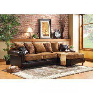 Furniture of America Gasparzi  Fabric/Espresso Leatherette Chaise Sectional