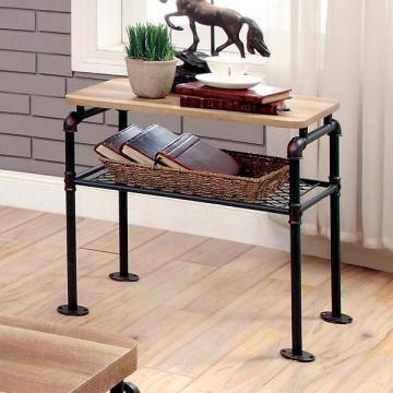 Furniture of America Galbus Industrial Antique Black Single-shelf End Table