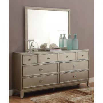 Furniture of America Estevia Contemporary Silver Grey Dresser & Mirror Set