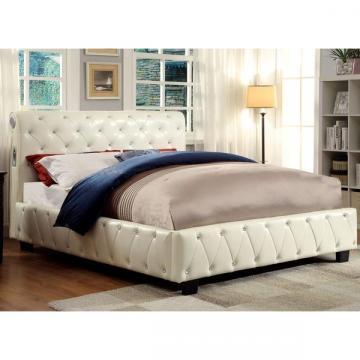 Furniture of America Emmaline Ivory Leatherette Platform Bed with BT Speakers