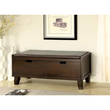 Furniture of America Emesso 2-Drawer Walnut Storage Bench