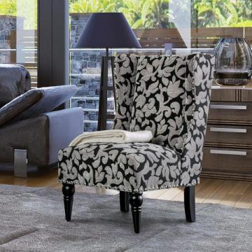 Furniture of America Davenwood Chenille Black/Grey Wingback Accent Chair