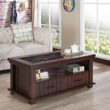 Furniture of America Cresci Rustic Glass Top 2-drawer Espresso Coffee Table