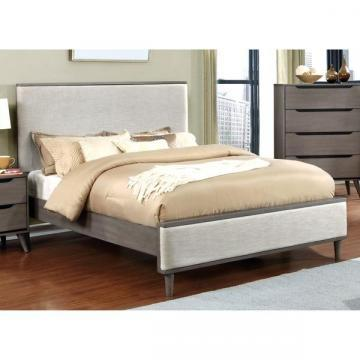 Furniture of America Corrine II Mid-Century Upholstered Queen Size Platform Bed