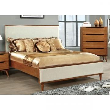 Furniture of America Corrine II Mid-Century Upholstered King-size Platform Bed