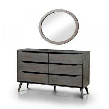 Furniture of America Corrine Mid-Century Modern Dresser and Oval Mirror Set