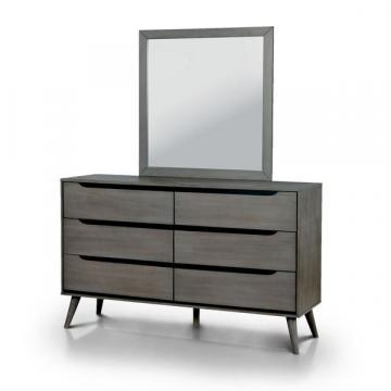 Furniture of America Corrine 2-piece Mid-Century Modern Dresser and Mirror Set