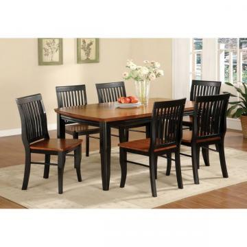 Furniture of America Burwood Antique Oak and Black Mission Style Dining Set