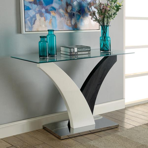 Furniture of America Bevelen Contemporary Two-Tone White/Dark Grey Sofa Table