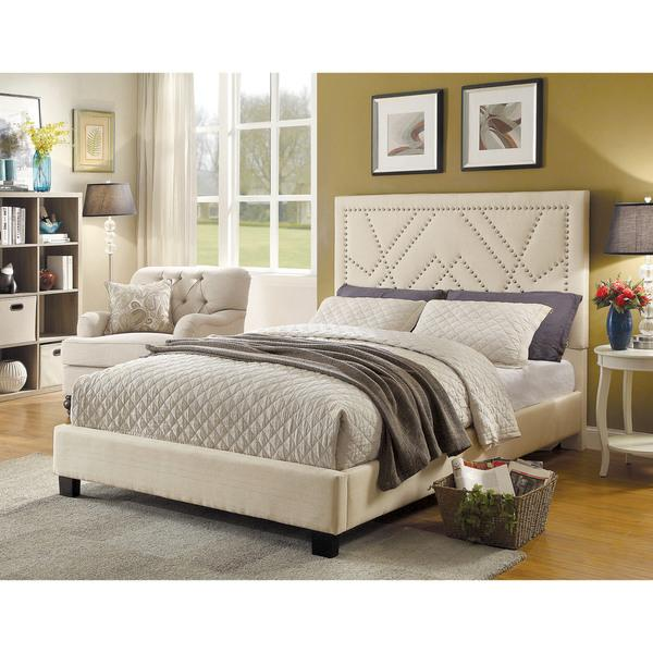 Furniture of America Beca Contemporary Linen-Like Nialhead Trim Platform Bed