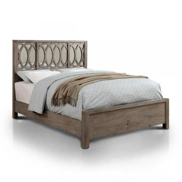 Furniture of America Alessa Contemporary Mirrored Rustic Wood Panel Bed