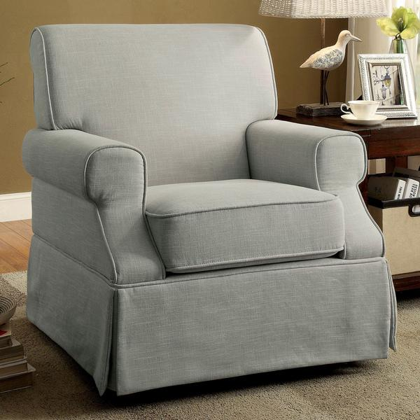 Furniture of America Adel Rolled Arm Linen-Like Fabric Glider Rocker Chair